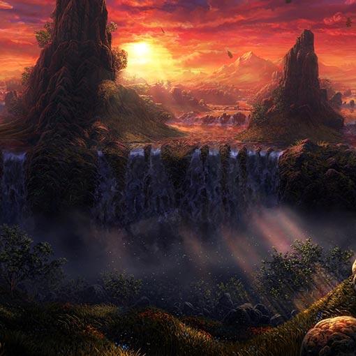 Waterfall Sunset Wallpaper Engine