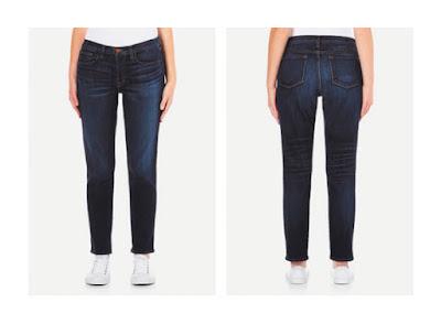 Более прилегающие джинсы бойфренды на фигуре перевернутый треугольник