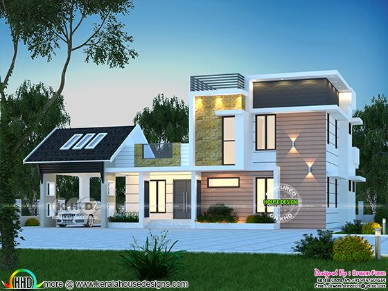 Beautiful mixed roof Kerala home design