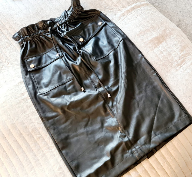 Black leather paperbag waist drawstring skirt Very