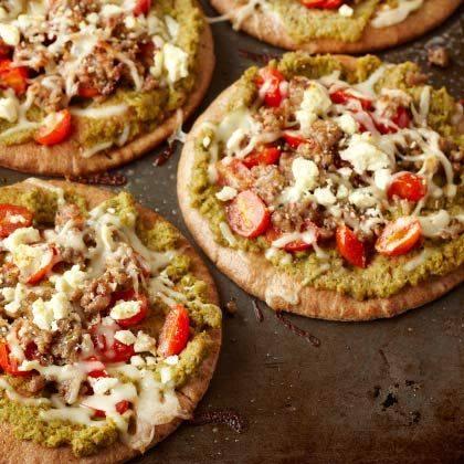 Individual Veggie-Loaded Pita Pizzas