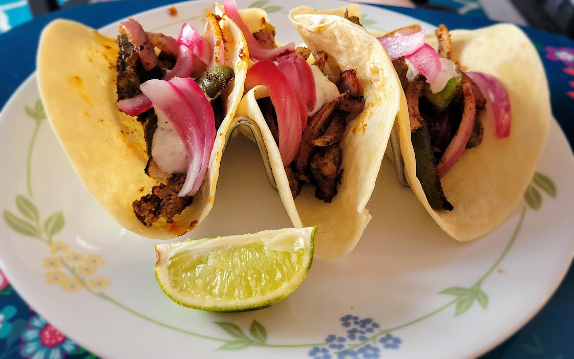 EveryPlate Southwest Beef Tacos with pickled onion