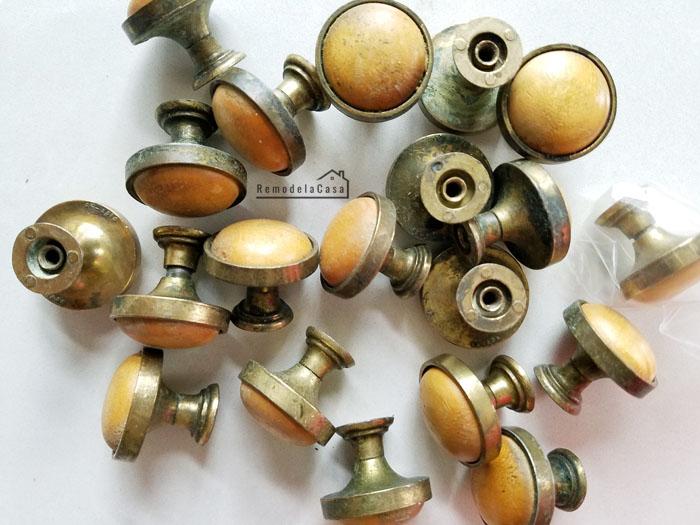 mushroom style wooden and brass metal cabinet door knobs