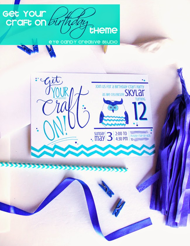 get your craft on, girls birthday party idea, chevron, hand illustrated