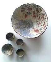 grand saladier en cèramique, fait et décoré main  Annapia Sogliani handmade design ceramic contemporary ceramic homedecor