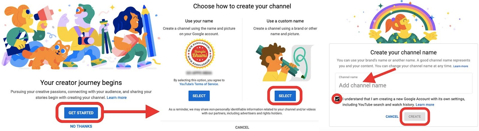 How to Create Youtube Channel - Step 3