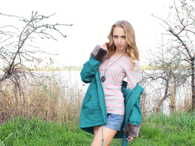 Rainbow T-shirt and a light winter jacket by Bonprix