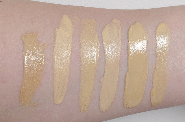 L-R: bareMinerals Bareskin, L'Oreal True Match, Benefit Hello Flawless, NARS ADLW, RBR Time Defying and GA Lasting Silk in direct artificial daylight balanced light
