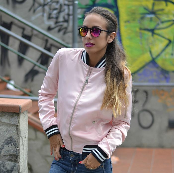 bomber raso rosa