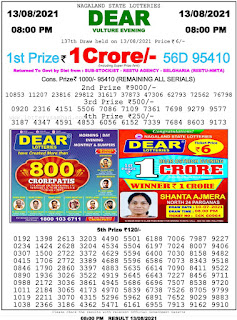 Nagaland State Lottery Result Today 13.8.21,8pm