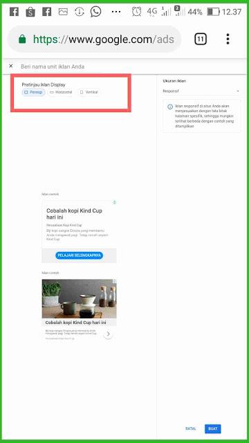 Jenis ukuran unit iklan google adsense