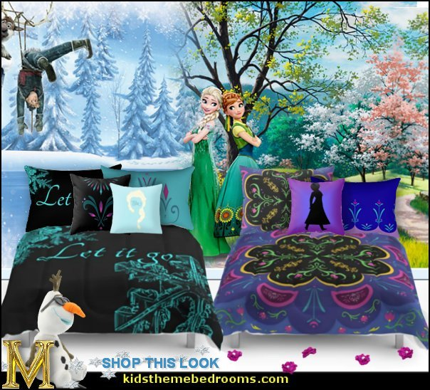 FROZEN BEDROOM ELSA ANNA ELSA bedding Anna bedding frozen mural olaf plush elsa pillows anna pillows frozen princess bedroom decor