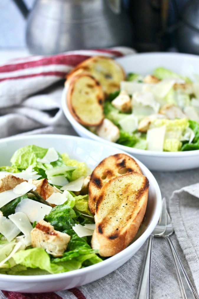 Caesar salad with grilled chicken and croutons