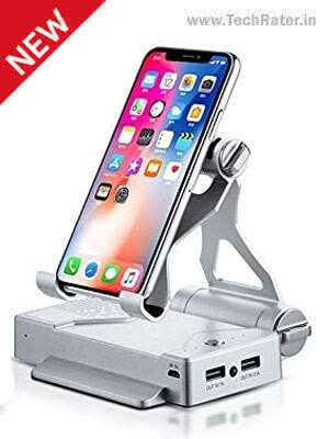 3-in-1 Mobile holder Standwith Powerbank and Bluetooth Speakers
