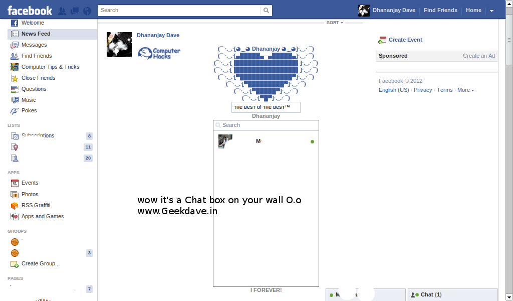 how to post facebook chat box on your wall geek dave