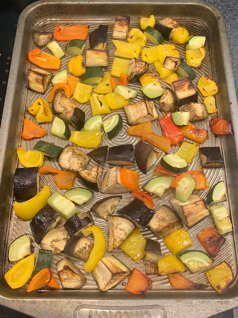 Roasted veg on a baking tray