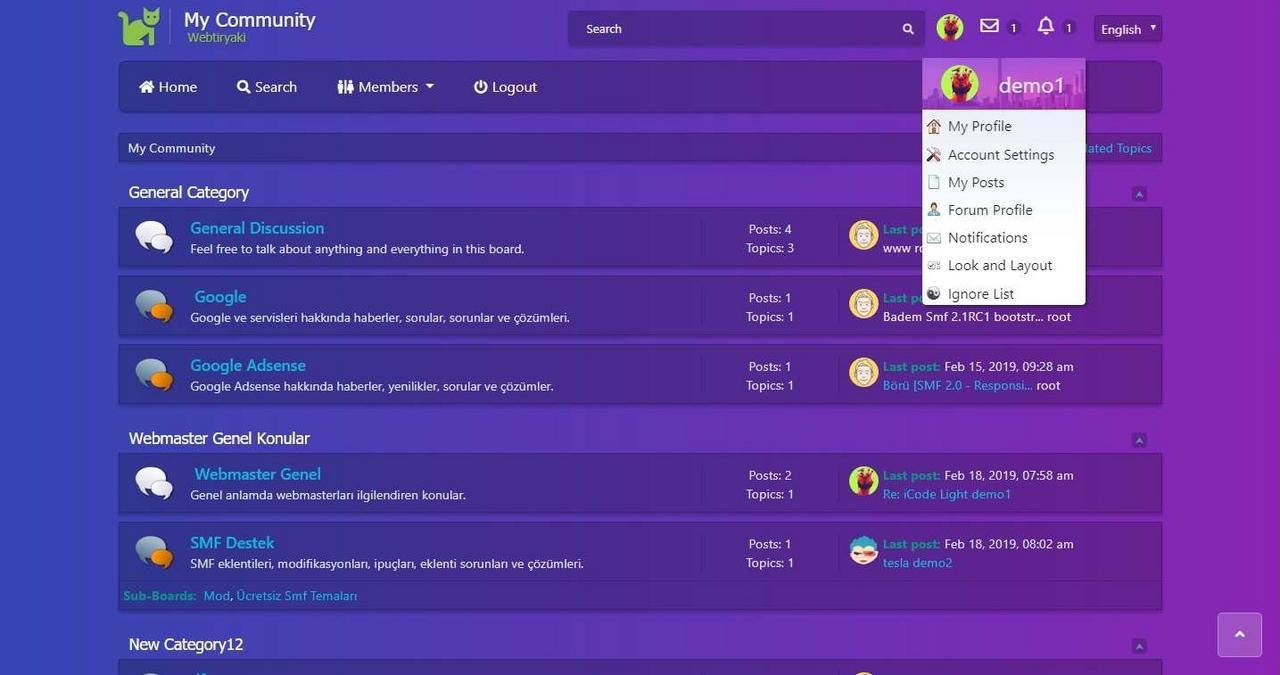 Smf Renklitema [2 1RC2 - Bootstrap 4 & FontAwesome 5] - webtiryaki