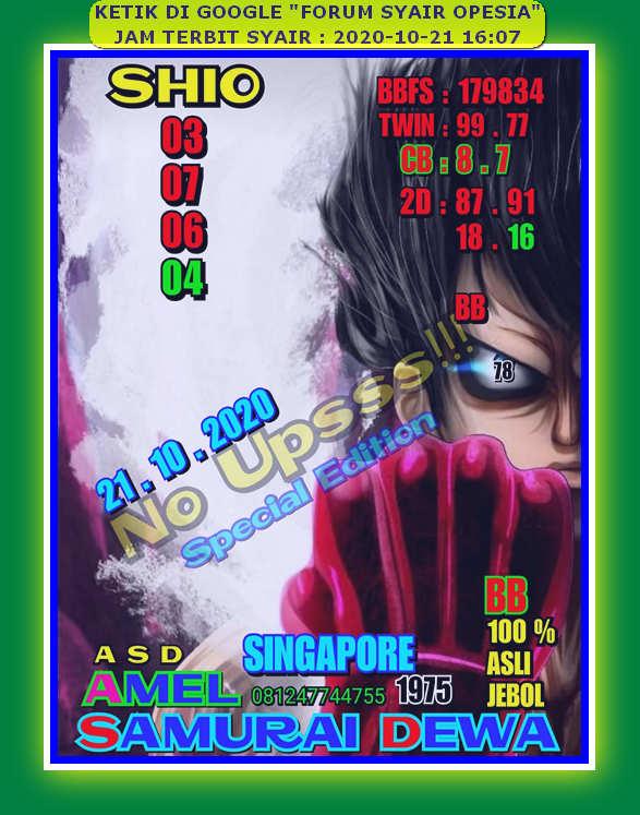 Kode syair Singapore Rabu 21 Oktober 2020 70