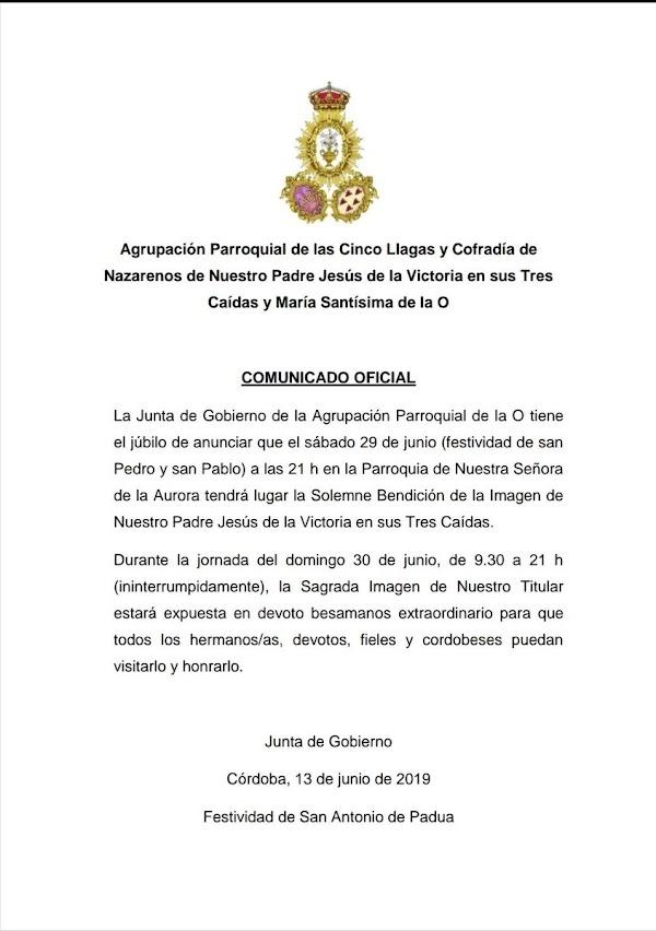 Bendición de Nuestra Señora de la, Aurora en Córdoba