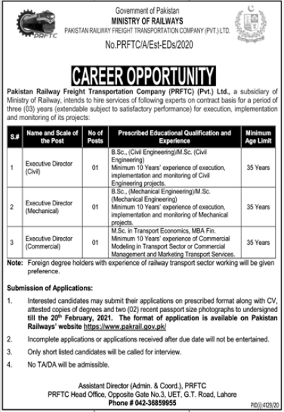 Ministry of Railways Jobs 2021 in Lahore