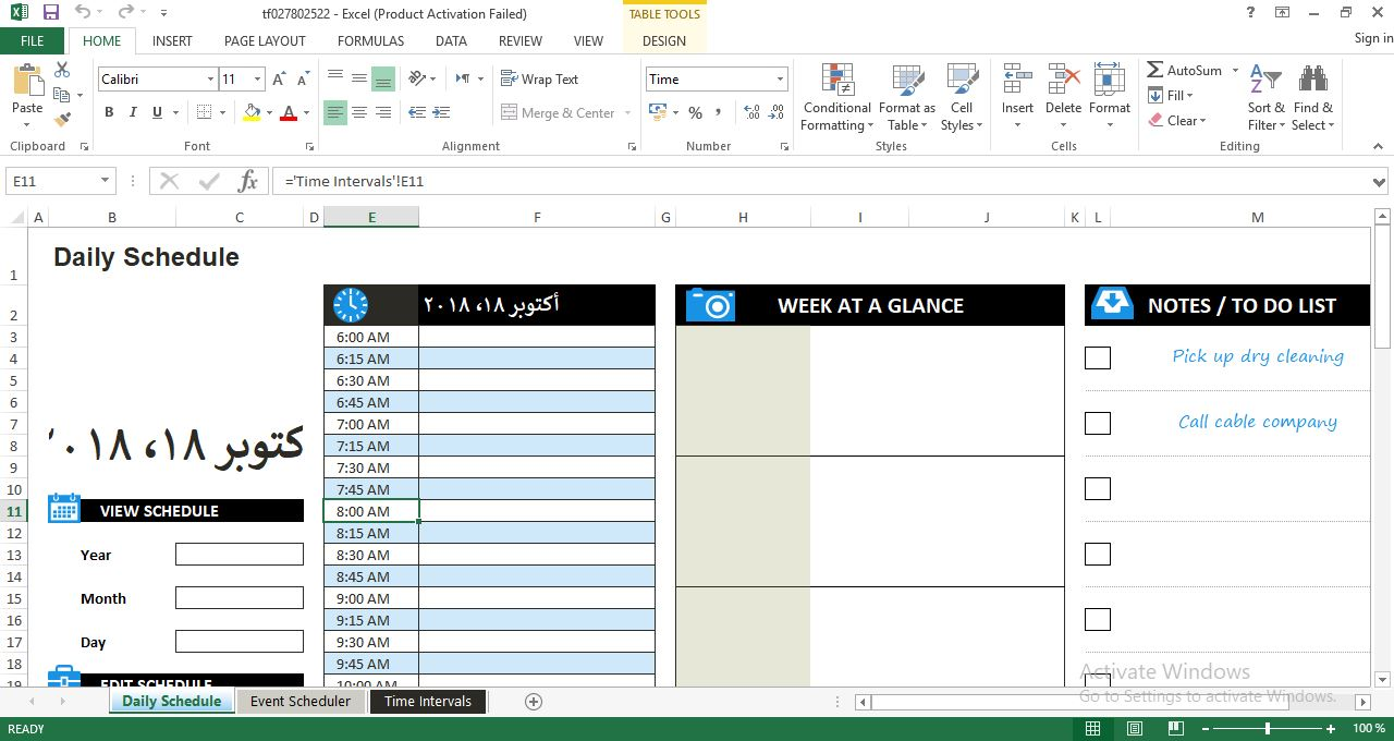 She uses this extensive e. Daily Work Schedule Excel Template