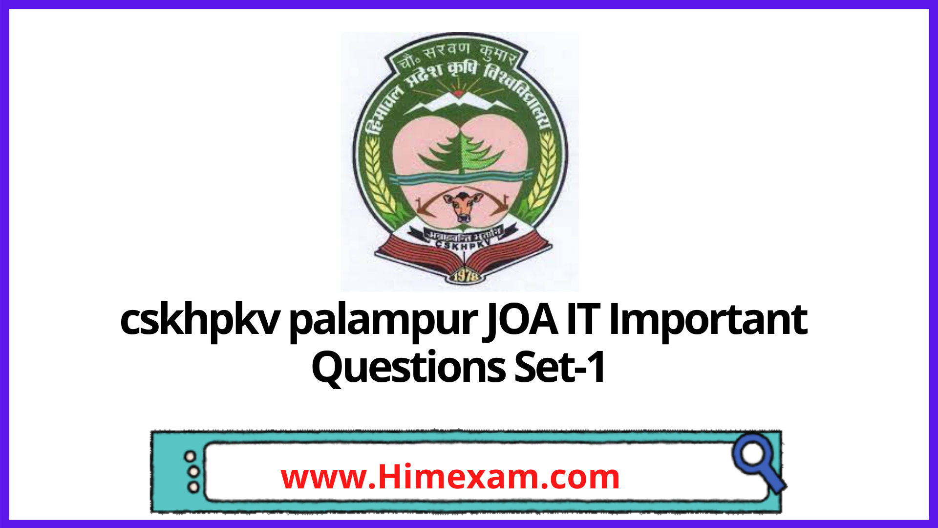 cskhpkv palampur JOA IT Important Questions Set-1