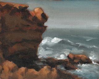 Landscape oil painting of a limestone cliff with nearby waves.