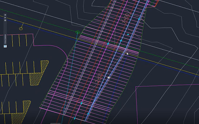 Widened lanes in a corridor in Autodesk Civil 3D