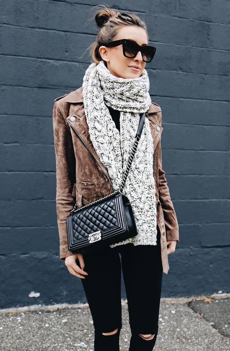 fall trends   knit scarf + brown jacket + top + black bag + skinnies
