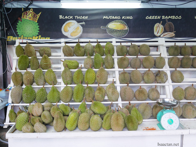 Many varieties of durians are available here, at good pricing too