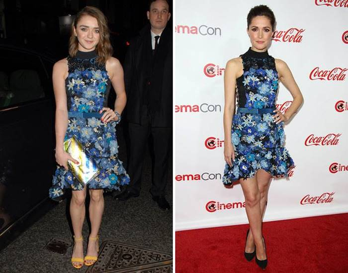 Macy Williams and Rose Byrne beat the feminine Preen dress with a contemporary floral print in different ways: the young star of Game of Thrones complemented it with bright accessories , while Byrne , on the contrary , limited herself to laconic black boats.