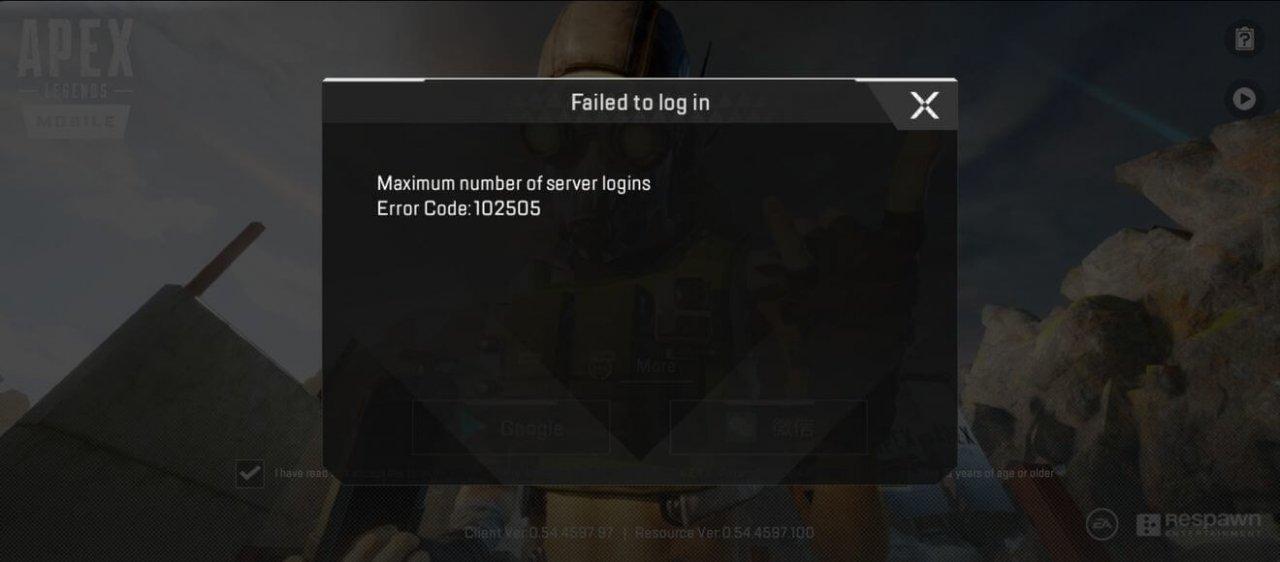 Apex Legends Mobile Error Code 102505