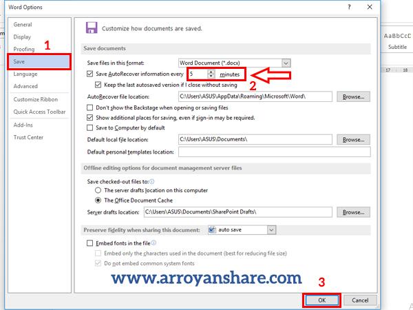 Mengatur Penyimpanan Otomatis di Microsoft Word