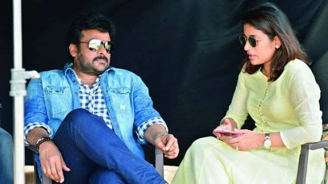 Chiranjeevi with his daughter on sets of khaidi No 150