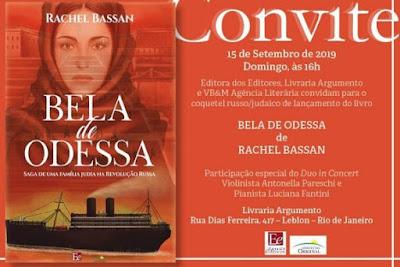 """Rachel Bassan lança livro """"Bela de Odessa"""" no domingo no Rio de Janeiro"""