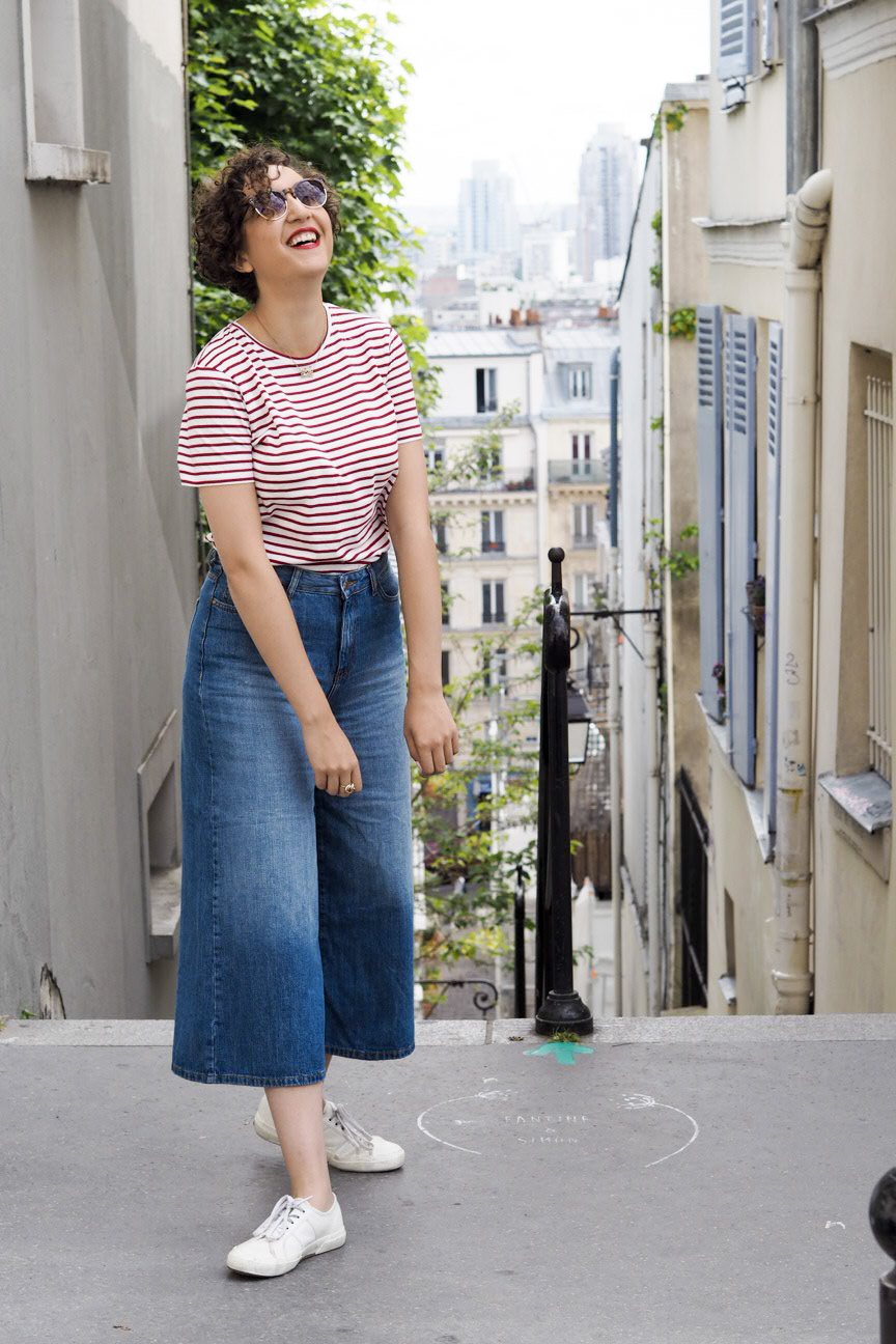 Denim culottes, breton stripes