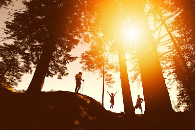 Silhouette of people standing on a ridge in the woods with the sun setting behind them.