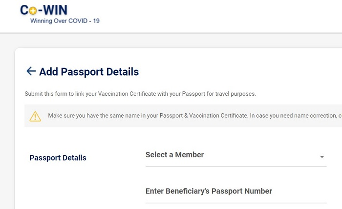 link indian passport with covid certificate