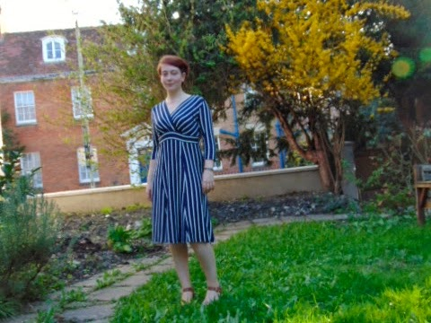 Navy and white-striped dress