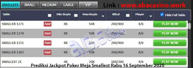 prediksi jackpot poker meja smallest rabu 16 september 2020