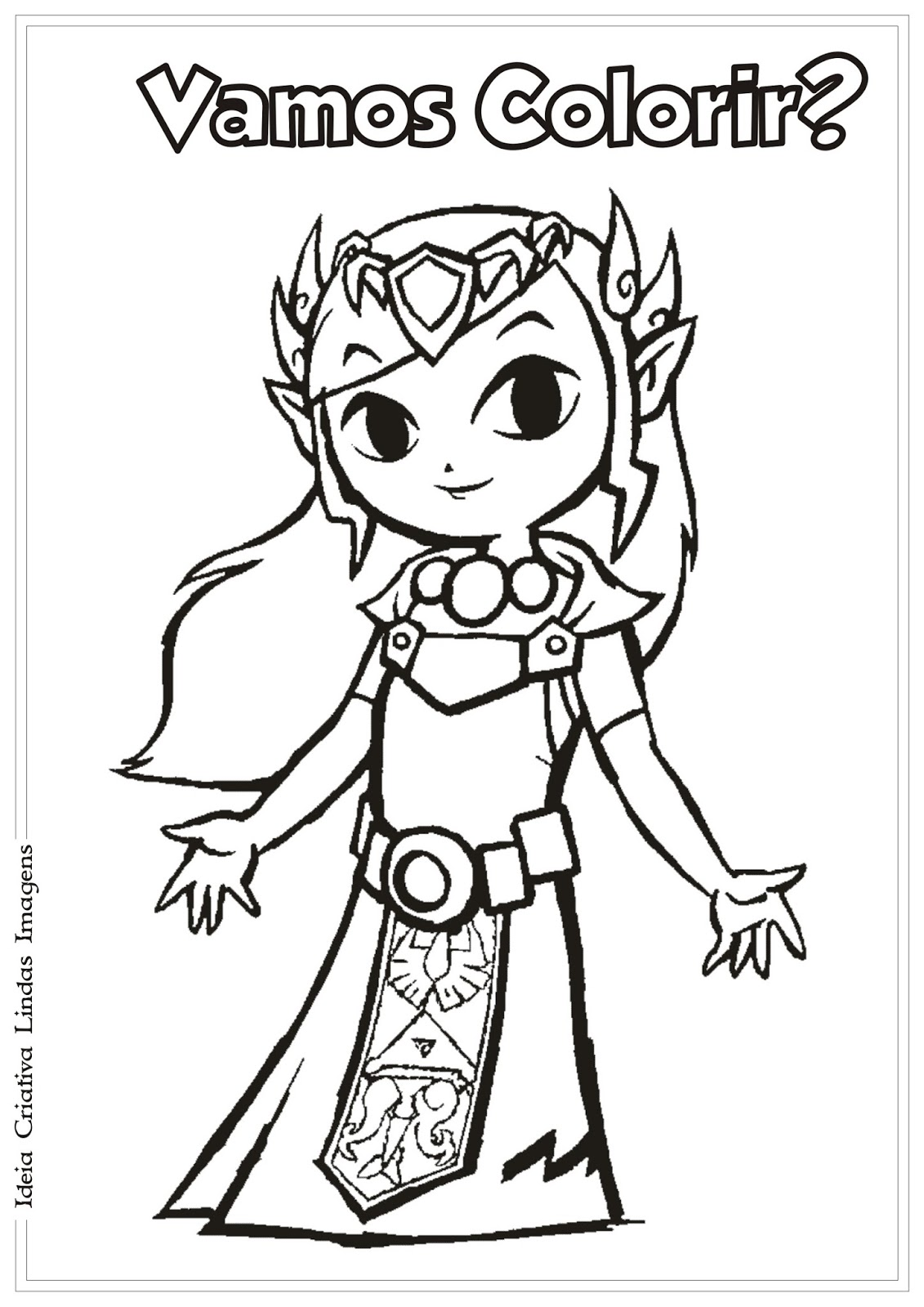 Legend Of Zelda Princesa Zelda Desenho Para Colorir
