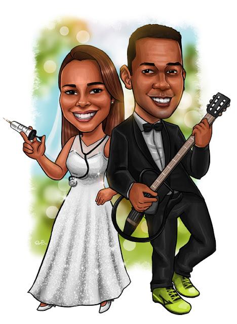 caricatura casamento rio de janeiro