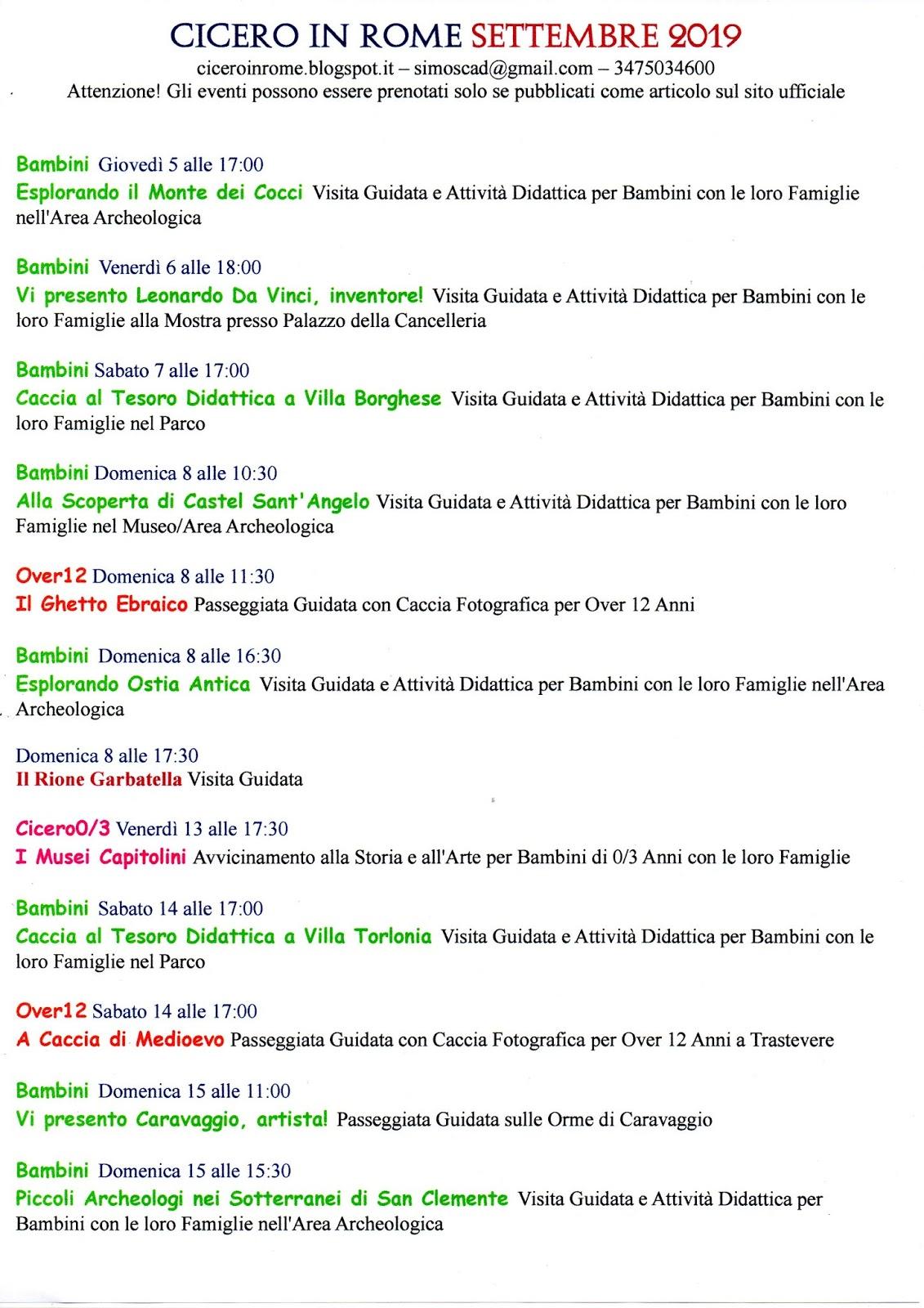 Pagina Di Calendario Settembre 2019.Cicero In Rome Calendario Eventi