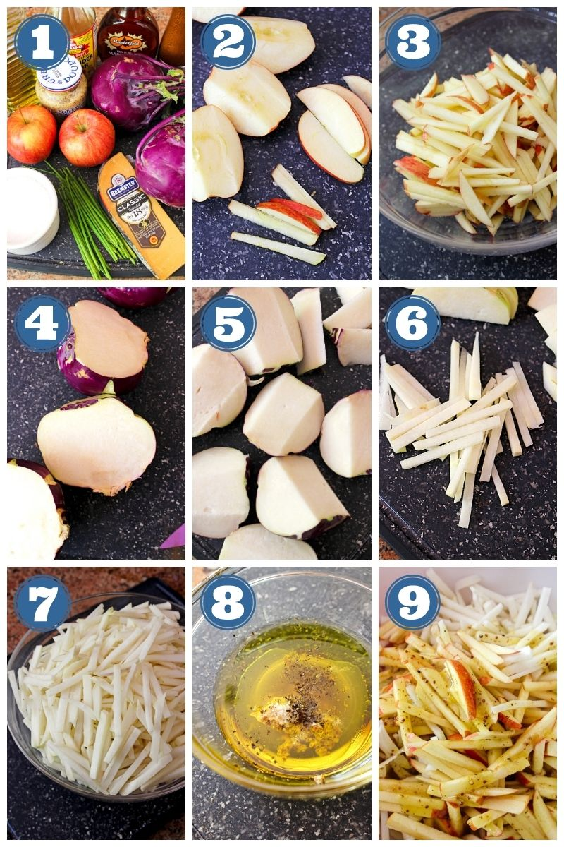 Collage of step by step images of kohlrabi and apple salad being made.