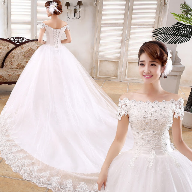 Elegant Off-The-Shoulder Appliques Lace-Up Chapel Train Wedding Dress