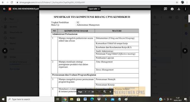 Contoh Spesifikasi soal tes P3K Kemdikbud