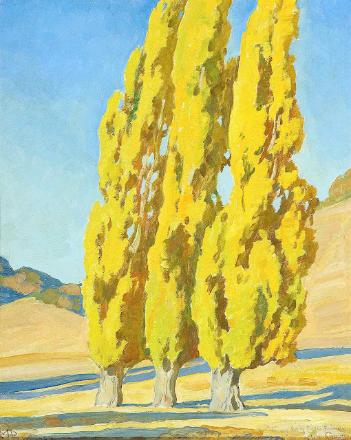 a Maynard Dixon painting of three yellow trees
