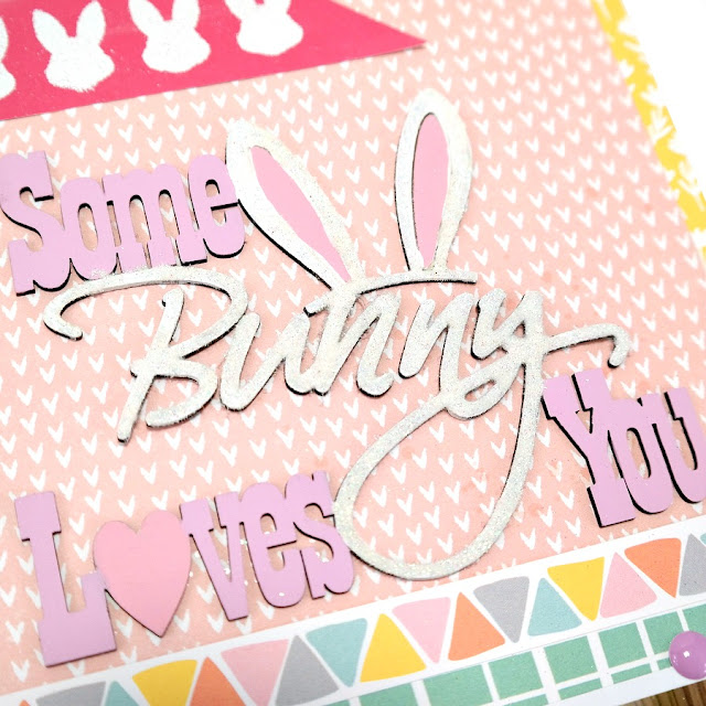 Some Bunny Loves You chipboard title with acrylic paint and glittered flock.
