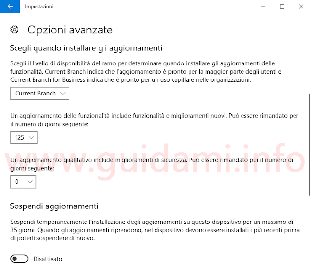 Impostazioni Windows Update Windows 10 per rimandare e sospendere aggiornamenti