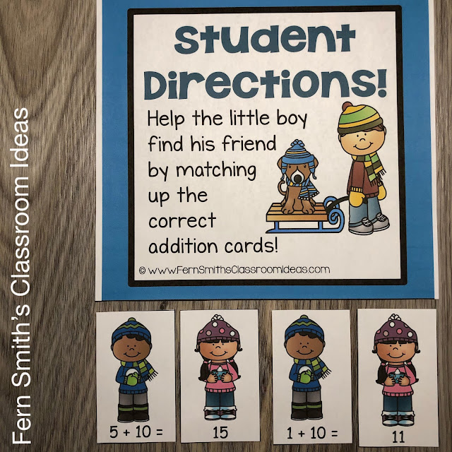 Fern's Freebie Friday ~ A Winter Math Center For Addition Plus Ten For Your Classroom! #FernSmithsClassroomIdeas